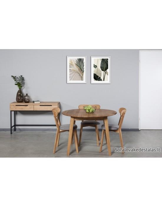 Apvalus ąžuolo masyvo stalas GENOVA Ø110-150