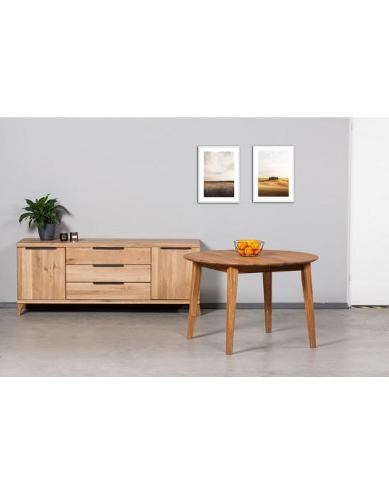 EKA Ø115-155-195 apvalus, prasiilginantis, ąžuolinis stalas
