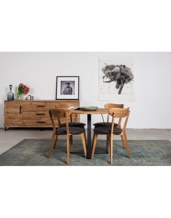 LOFT Ø90 apvalus ąžuolinis stalas