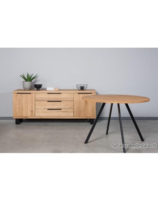 TORI Ø90 apvalus ąžuolinis stalas