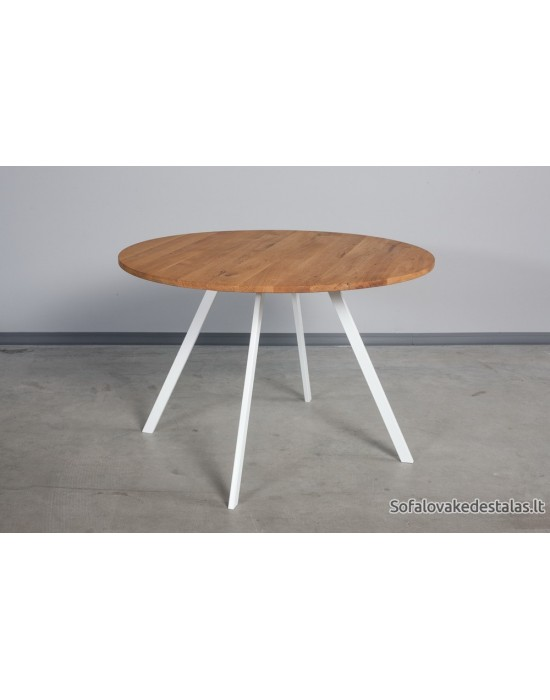 TORI WHITE Ø90 apvalus ąžuolinis stalas