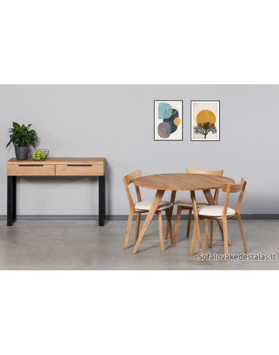 OAKY Ø90 apvalus ąžuolinis stalas
