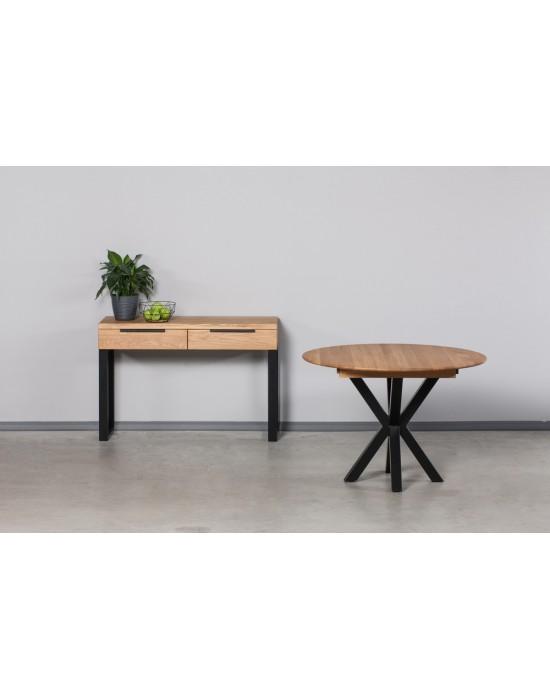 GENOVA MODERNA Ø110-153 apvalus, prasiilginantis, ąžuolinis stalas